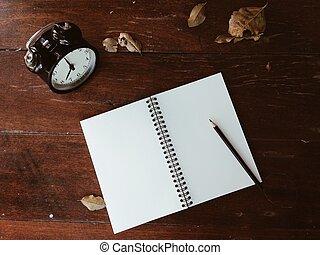 droog, potlood, houten, klok, bladeren, aantekenboekje, tafel