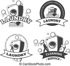 droog, set, wasserij, logos, dienst, ouderwetse , etiketten, vector, schoonmaken, emblems, kentekens