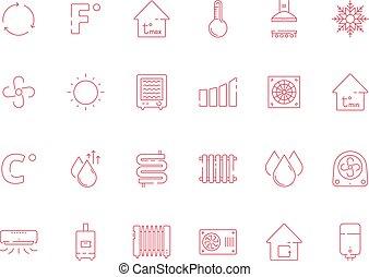 droog, symbols., zon, koel, heizung, vector, lucht, water, verkoeling, set, systemen, pictogram, het conditioneren