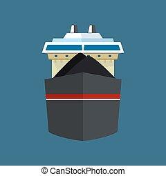 droog, vrachtschip, aanzicht, voorkant