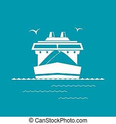 droog, vrachtschip, groene, vrijstaand