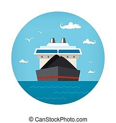 droog, vrachtschip, pictogram