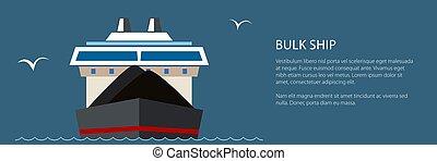 droog, vrachtschip, spandoek, zee