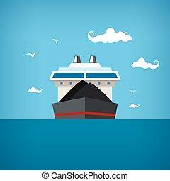 droog, vrachtschip, vector, illustratie