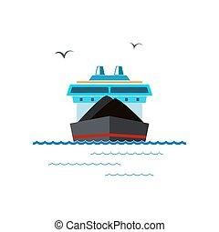 droog, vrachtschip, witte , vrijstaand