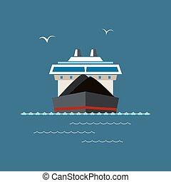 droog, vrachtschip, zee