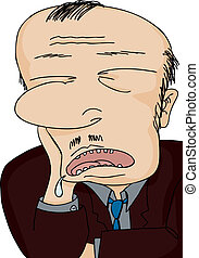 Drooling businessman asleep with hand on face over white background
