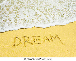 droom, woord, geschreven, in, de, zandig strand