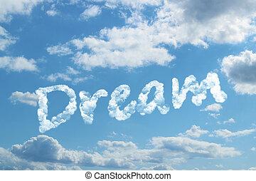 droom, woord, op, wolk