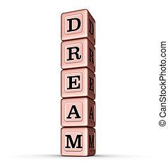 droom, woord, teken., verticaal, stapel, van, roos, goud, metalen, speelbal, blocks.