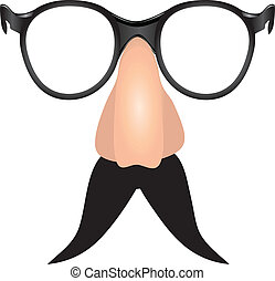 Drooping mustache with toy nose and glasses. Vector...