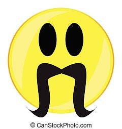 A drooping curling mustache smile face button isolated on a white background