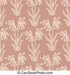 Simple line art wild flower with droopy head in light pink over a dusty pink background.  Great for home decor, fabric, wallpaper, gift-wrap, stationery and packaging design projects.