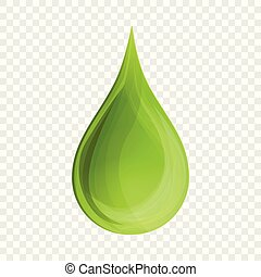 Drop aloe oil icon, cartoon style