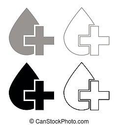 Drop and cross icon set grey black color