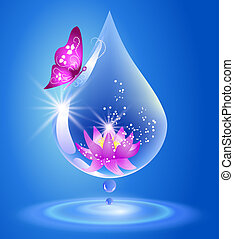 Water drop and lily. Symbol of clean water.
