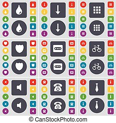 Drop, Arrow down, Apps, Badge, Cassette, Bicycle, Sound, Retro phone, Tie icon symbol. A large set of flat, colored buttons for your design. Vector