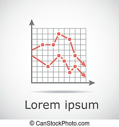 Drop chart with two graphs on grid and gradient background, ...