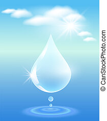 Drop, clouds, water and sunshine. Symbol of clean water.