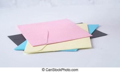 drop colorful envelope on white background .