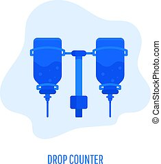 Drop counter icon. Infusion bottle, Infusion drip on white background. Vector flat design illustration