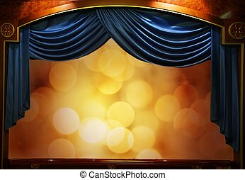 Drop-curtains with abstract background.