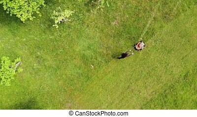 Drop down view of a female mowing lawn on sunny day. Spring cleaning around house.