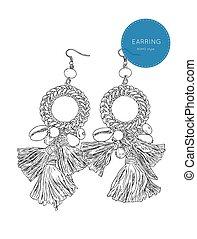 drop earring Bohemian fashion style sketch vector. - drop ...