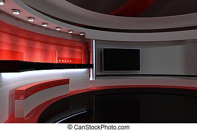 drop., fernsehapparat, zurück, übertragung, 3d, rotes , studio.