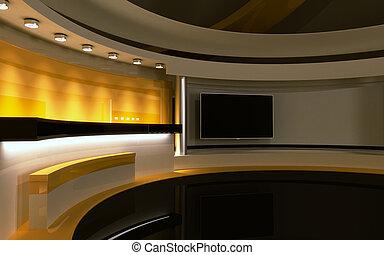 drop., fernsehapparat, zurück, gelber , übertragung, 3d, studio.