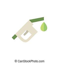 drop fuel nozzle green energy icon