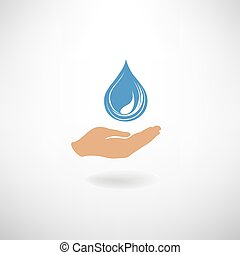 Drop icon in hand silhouette. Save clean water symbol