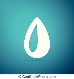 Drop icon isolated on blue background. Flat design. Vector Illustration