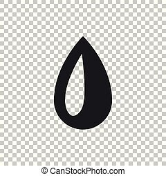 Drop icon isolated on transparent background. Flat design. Vector Illustration