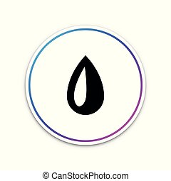 Drop icon isolated on white background. Circle white button. Vector Illustration