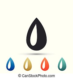 Drop icon isolated on white background. Set elements in colored icons. Flat design. Vector Illustration