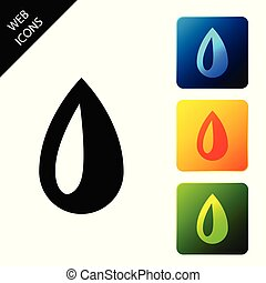 Drop icon isolated on white background. Set icons colorful square buttons. Vector Illustration