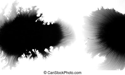Drop of black watercolor paint spread on white background