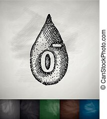 drop of blood 0- icon. Hand drawn vector illustration....