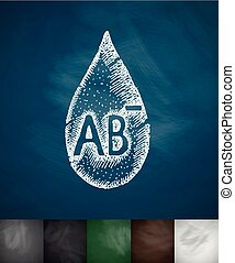 drop of blood AB- icon. Hand drawn vector illustration....
