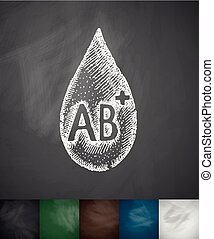 drop of blood AB icon. Hand drawn vector illustration....