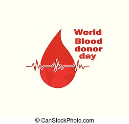 Drop of blood and life line- social vector poster, advertisement. World Donation Day