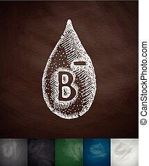 drop of blood B- icon. Hand drawn vector illustration....