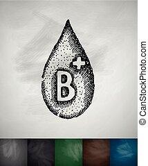 drop of blood B icon. Hand drawn vector illustration....
