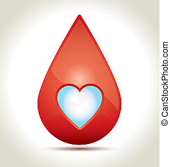 Drop of Blood - Drop of blood with white heart and shadow.