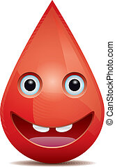 Drop of blood face (emoticon) on white background.