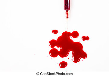 Drop of blood from needle syringe.