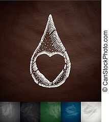 drop of blood icon. Hand drawn vector illustration....