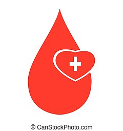 Drop of blood - Isolated drop of blood and a heart shape,...