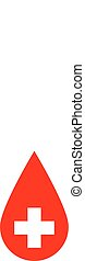Drop of blood. Red vector illustration with white corss sign. Symbol of blood donation